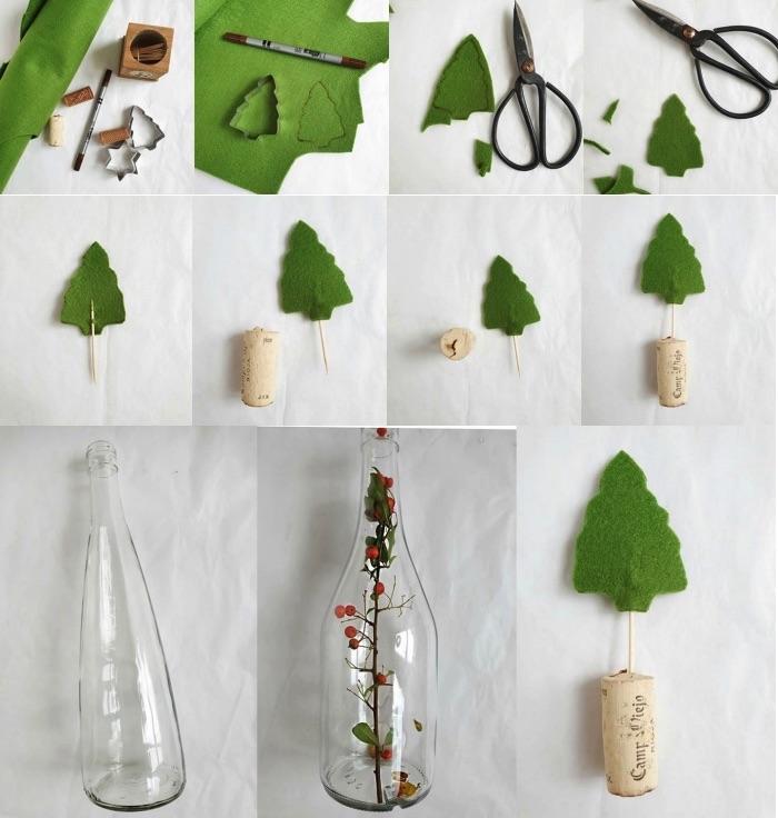 weihnachten basteln für den tisch, flaschen toppers tannenbäume, einfache weihnachtsdeko