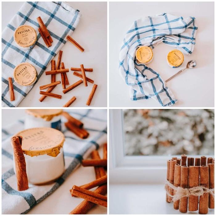 weihnachtsdeko basteln für den tisch, teelichthalter mit zimt dekorieren, duftkerzen