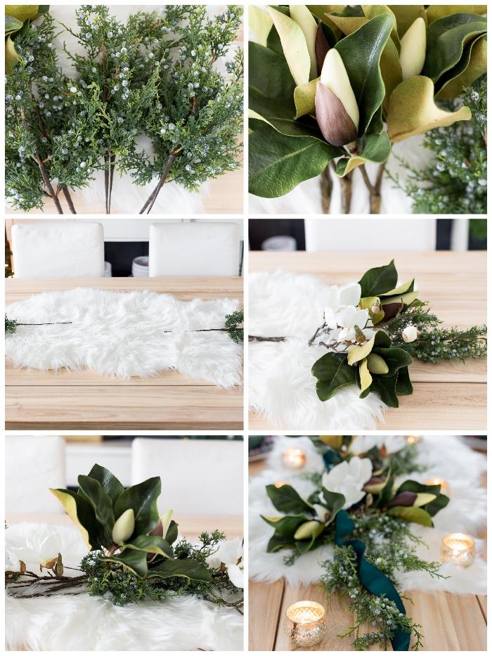 weihnachtsdeko basteln für den tisch, weißer kunstfell, goldene teelichter, große grüne blätter