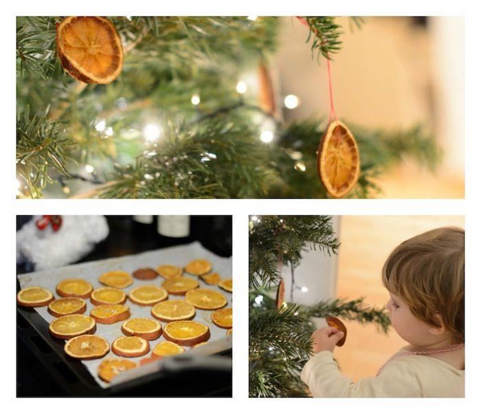 Weihnachtsschmuck mit Kindern basteln, Orangenscheiben trocknen lassen