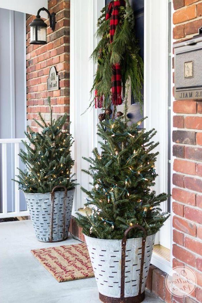Echte Weihnachtsbäume in Eimern geschmückt mit Lichtern, neben der Eingangstür