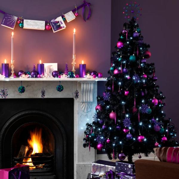 weihnachtsdeko-ideen-lila-nuancen