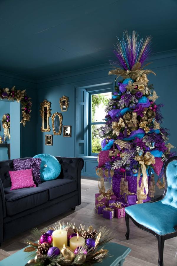 weihnachtsdeko-ideen-lila-tannenbaum