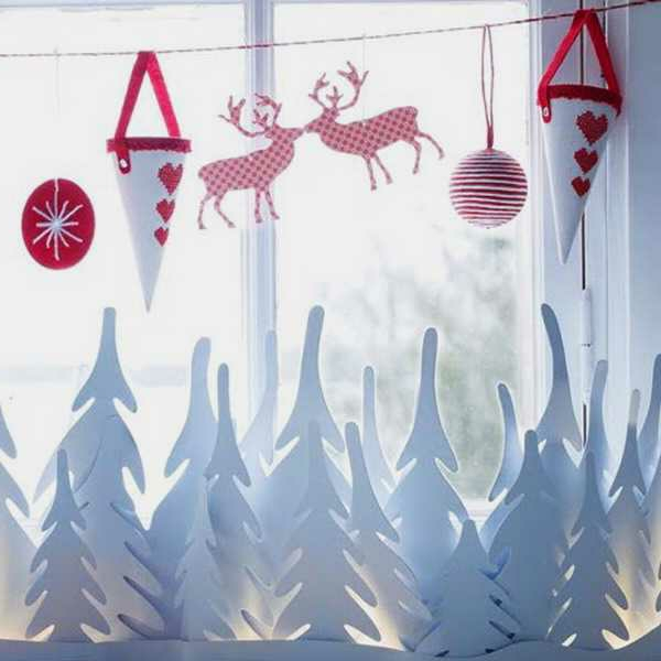 weihnachtsdeko-ideen-tannenbäume-und-damhirsche-aus-papier