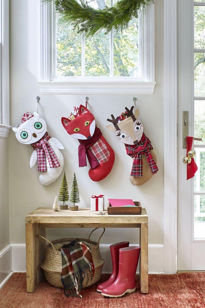 Weihnachtsstrümpfe selber nähen in Form von Eule, Fuchs und Rentier, Weihnachtsdeko selber nähen