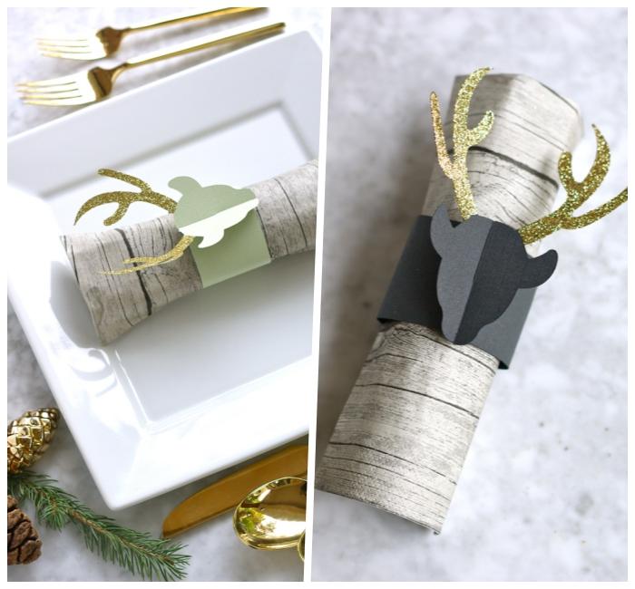 weihnachtsdeko tisch, dekoideen zu weihanchten, servieteten dekorieren, hirsche aus papier