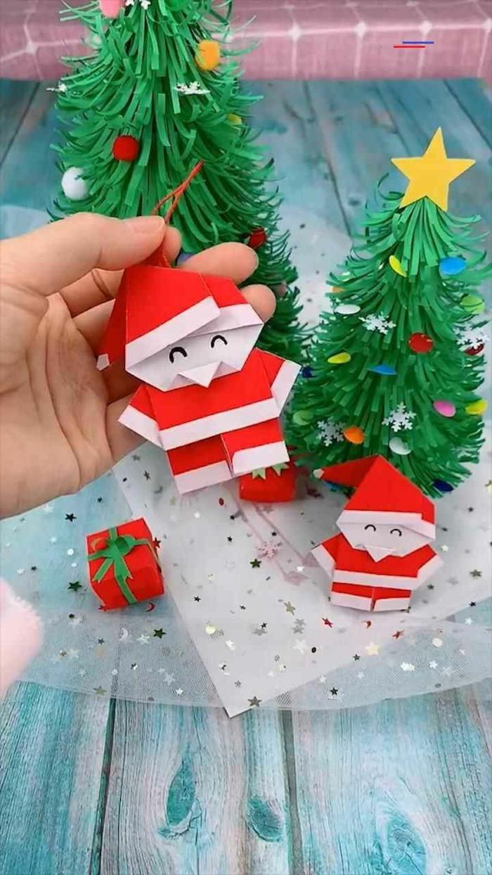 weihnachtsmann origami zu weihnachten selber machen der weihnchtsmann aus zwei teilen machen einfach