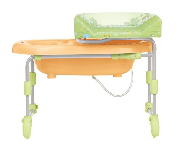 wickeltisch-mit-badewanne-grüne-und-orange-farbe