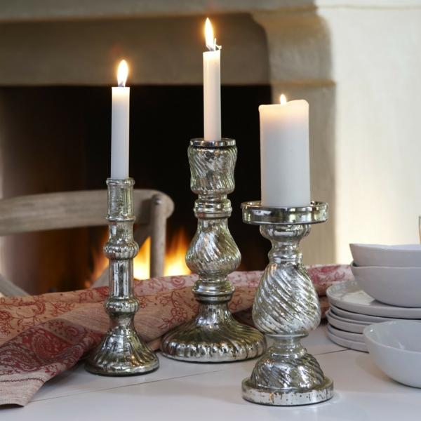 Antiksilber-Kerzenhalter-unikale-Deko-für-den-Tisch