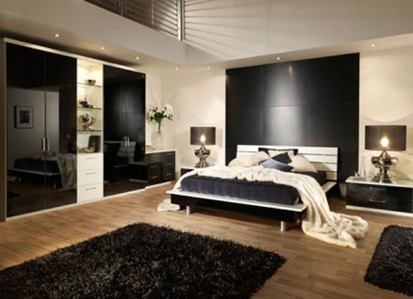 zimmer inspiration - teppich und wand in schwarz