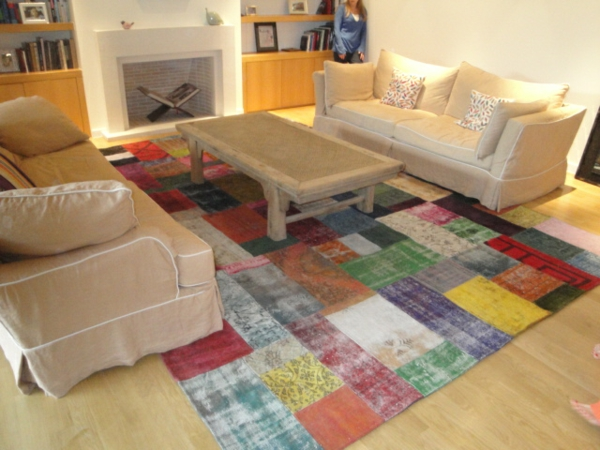 patchwork-teppich-wohnzimmer
