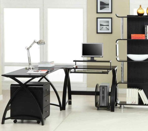 Eckschreibtisch-Holz-super-funktionelles-Design-Einrichtungsideen-Eckschreibtisch-Schwarz