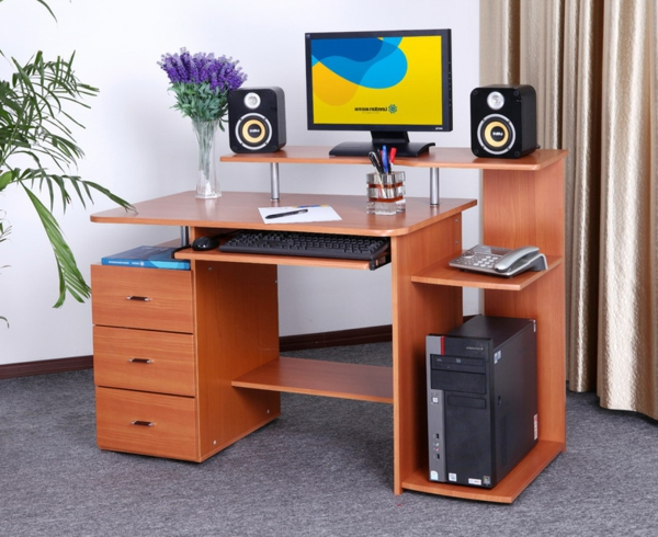 Einrichtungsideen-Büro-Schreibtisch-Holz-modernes-Design--