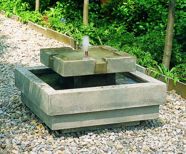 Moderner Garten Springbrunnen : schöner moderner garten mit einem schicken springbrunnen