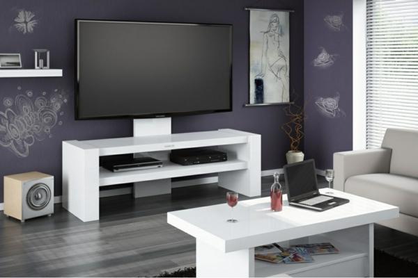 Fernsehschrank-aus-Holz-effektvolles-Design-Einrichtungsideen-für-das-Wohnzimmer-Weiß