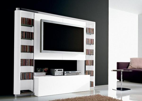 Fernsehschrank-aus-Holz-effektvolles-Design-in-Weiß-Einrichtungsideen-für-das-Wohnzimmer