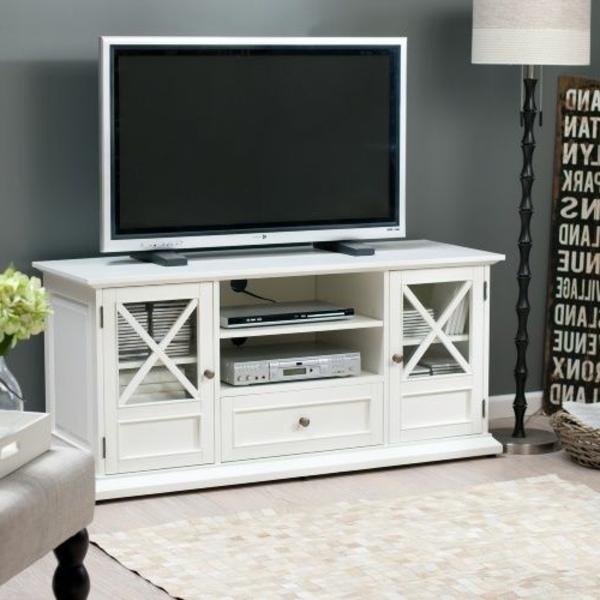 Fernsehschrank-weiß-Retro-Design-schönes-Modell-aus-Holz