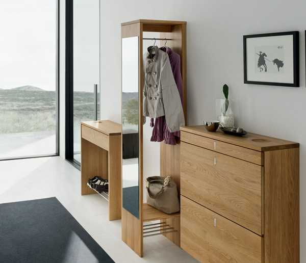 Hallway-shoes-rack-and-mirror-in-stylish-natural-wood-color