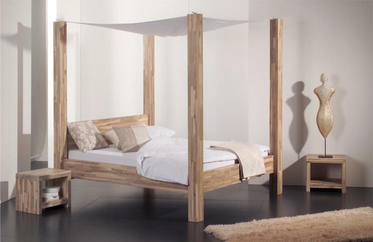 Schlafzimmer edel schick braunes holz helle kissen und decke schlicht