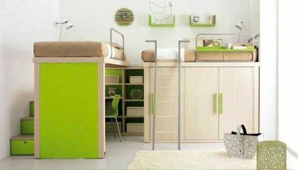 Hochbett-Schreibtisch-Ideen-grünes-Zimmer-Wohnideen-Kinderzimmer-praktisch-gestalten-raumsparende-Kinderzimmermöbel