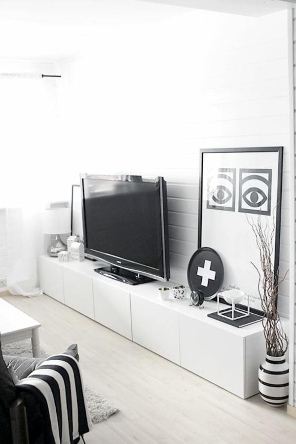 Interior-Design-Fernsehmöbel-Weiß-mit-coolem-Design-für-ein-modernes-Wohnzimmer