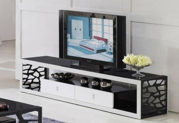 Interior-Design-Fernsehmöbel-mit-coolem-Design-für-ein-modernes-Wohnzimmer-TV-Schrank-Weiß-Schwarz