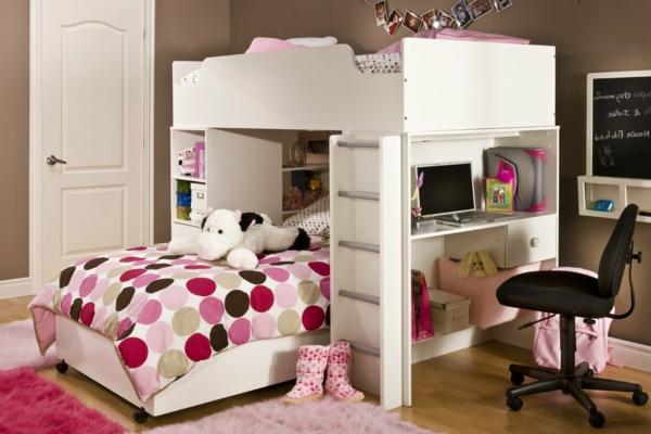 Interior-Design-Ideen-Hochbett-mit-Treppe-und-Schreibtisch-Weiß