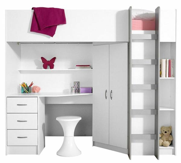 Interior-Design-Ideen-Hochbett-mit-Treppe-und-Schreibtisch-in-Weiß