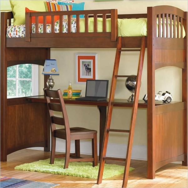 Interior-Design-Ideen-Hochbett-mit-Treppe-und-Schreibtisch