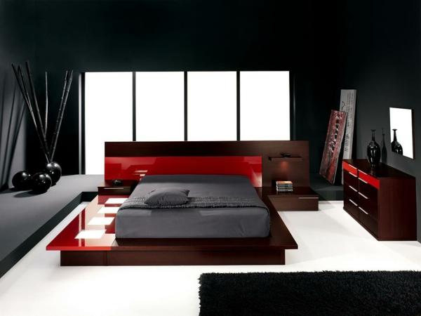Design-Ideen-Schlafzimmer-einrichten-Schwarz-Rot-Weiß