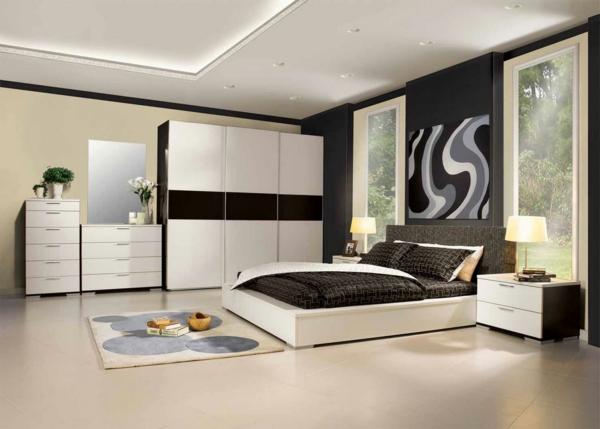 Interior-Design-Ideen-Schlafzimmer-einrichten-in-Weiß-und-Schwarz