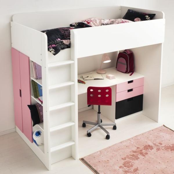 Interior-Design-Ideen-weißes-Hochbett-mit-Treppe-und-Schreibtisch