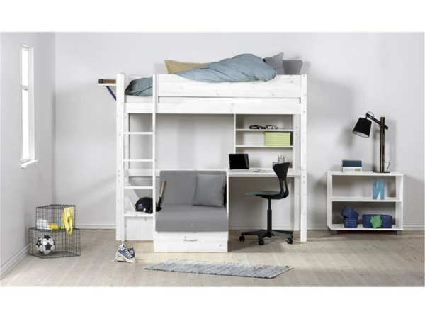 Interior-Design-Ideen-weißes--Hochbett-mit-Treppe-und-Schreibtisch