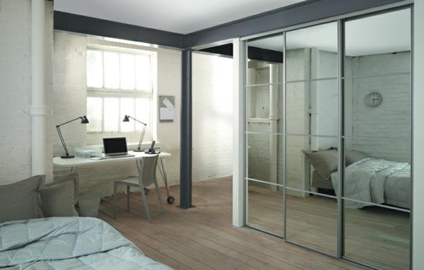 -Kleiderschrank-Schiebetüren-Spiegel-modernes-Interior-Design-Wohnideen