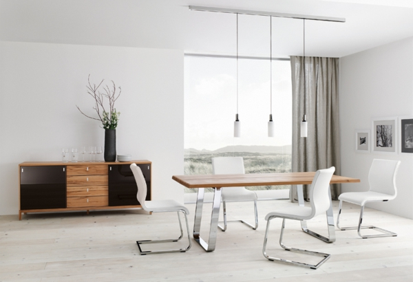 Modern-dining-table-Chrome-white-chairs-track-lighting