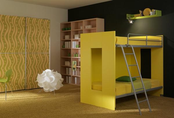 Modernes-Kinderzimmer-mit-einem-Stockbett-in-Gelb
