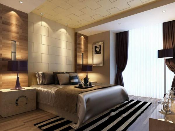 Modernes-Schlafzimmer-gestalten-schöner-Teppich-und-coole-Beleuchtung