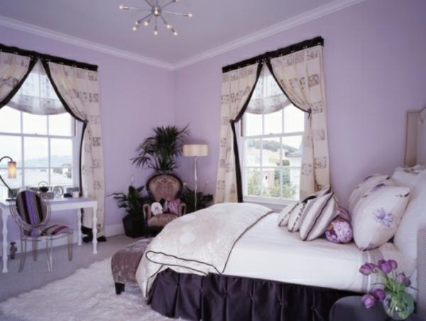 moderne lila wände und schöne gardinen für schlafzimmer