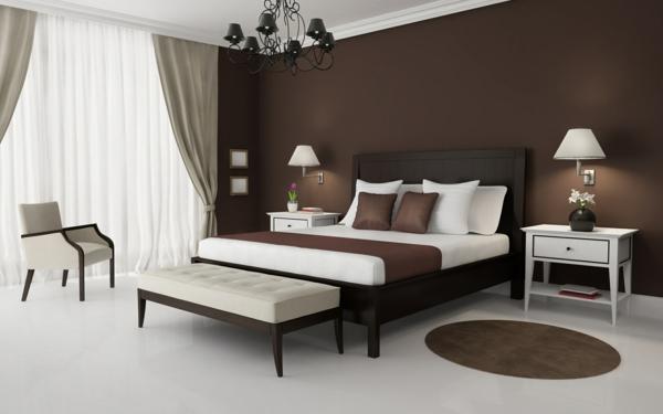 Schlafzimmer-Einrichtung-wunderbare-Ideen-zur-Gestaltung-braune-Wand