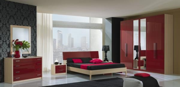 rotes-Möbelset-für-das-Schlafzimmer
