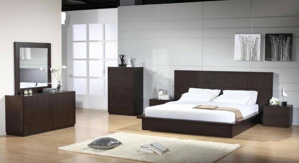 Schlafzimmer-gestalten-moderne-Schlafzimmermöbel-in-dunkler-Farbe