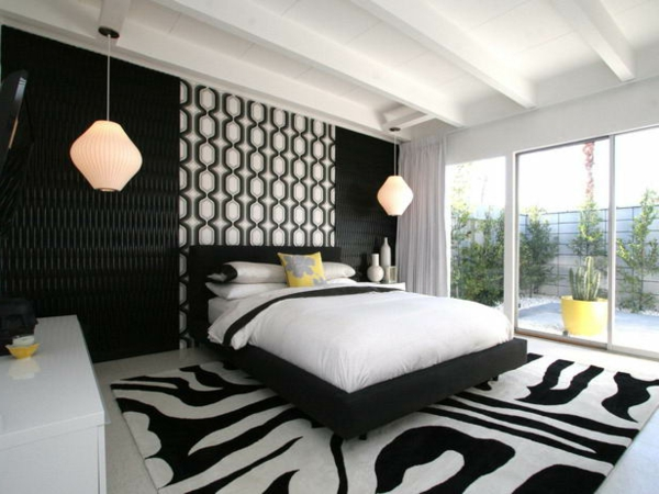 Schlafzimmer-gestalten-moderne-Schlafzimmermöbel-moderner-Teppich-in-Schwarz-und-Weiß