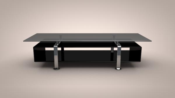 TV-Tisch-aus-Glas-in-schwarzer-Farbe-Wohnideen-TV-Möbel