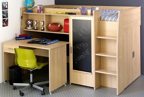 Kinderzimmermöbel holz  Hochbett mit Schreibtisch für das Kinderzimmer - Archzine.net