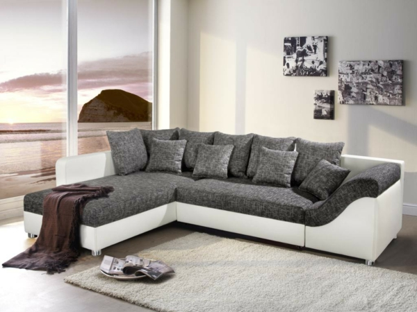 40 Best Corner Sofa Styles | Grey, White Pillows And The Doors ... Wohnzimmer Grau Sofa