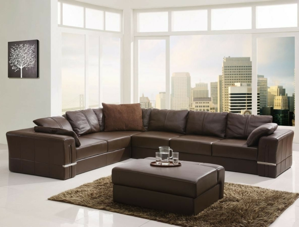 best wohnzimmer ledersofa braun contemporary house design ideas. Black Bedroom Furniture Sets. Home Design Ideas