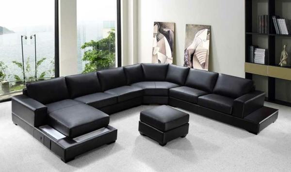 bequeme-ledercouch-schwarz-schöne-einrichtungsideen-für-das-wohnzimmer