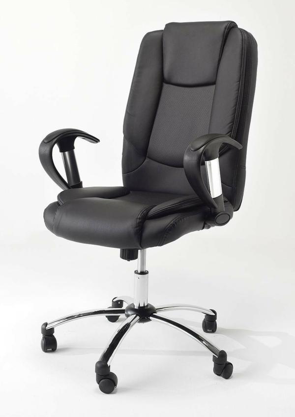 bequemer-Bürostuhl-elegantes-Modell-Büromöbel-in-schwarzer-Farbe-Lederstuhl