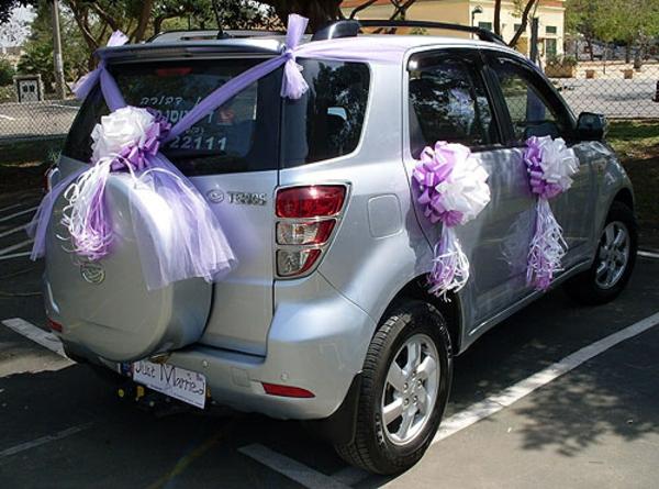 coole dekoration für autos zur hochzeit
