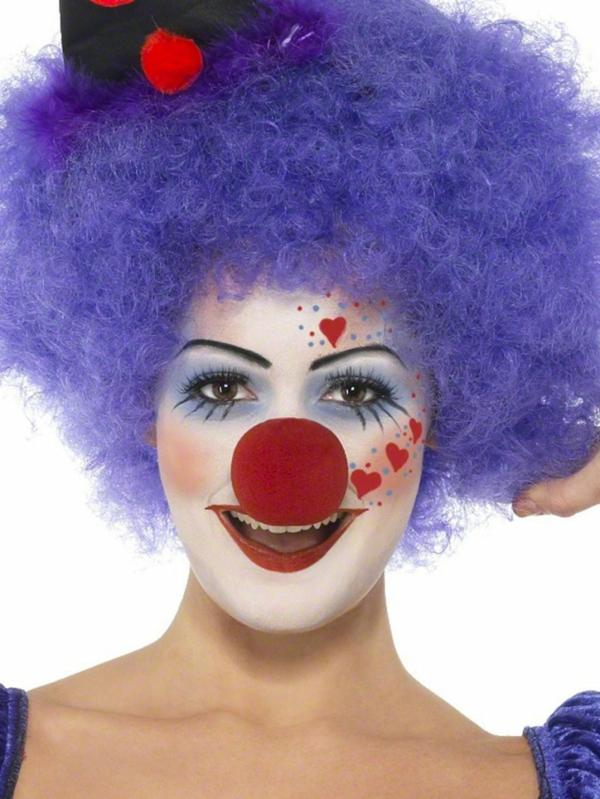 clownschminken - frau mit lila haaren - sehr schönes bild mit weißem hintergrund